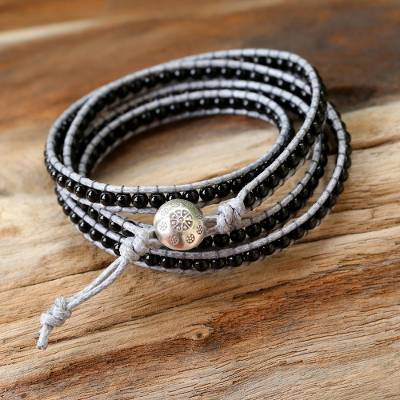 Agate wrap bracelet, 'Nocturnal Mystique' - Artisan Crafted Leather and Agate Bracelet from Thailand