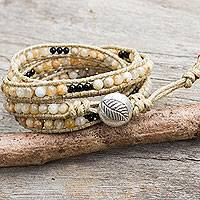Jasper and black agate wrap bracelet, 'Sunflower Mystery' - Jasper and Agate Wrap Bracelet