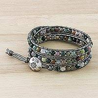 Jasper wrap bracelet, 'Rainforest Majesty' - Jasper wrap bracelet