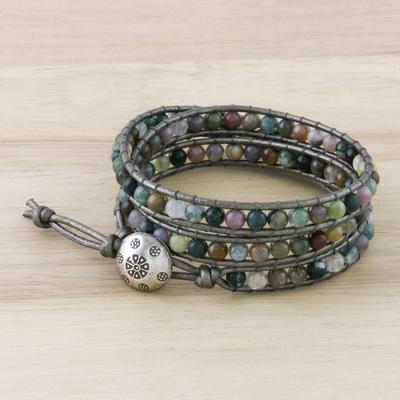 Jasper wrap bracelet, 'Rainforest Majesty' - Jasper wrap bracelet