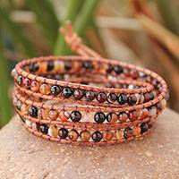 Jasper wrap bracelet, 'Caramel Sunset' - Artisan Crafted Leather and Jasper Wrap Bracelet