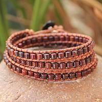 Jasper wrap bracelet, 'Crimson Fire' - Handcrafted Jasper Beaded Wrap Bracelet