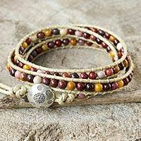 Jasper wrap bracelet, 'Lotus Feast' - Hand Made Leather and Jasper Wrap Bracelet