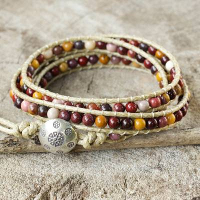 Jasper wrap bracelet, 'Lotus Feast' - Hand Made Leather and Jasper Wrap Bracelet