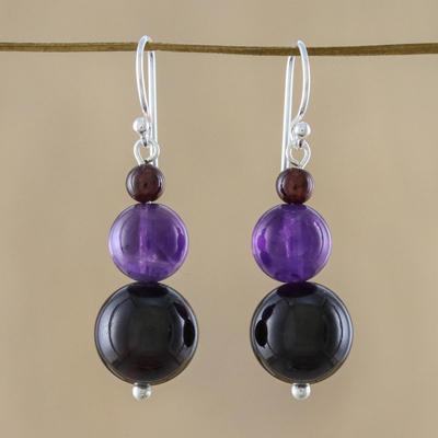Garnet and amethyst drop earrings, 'Sweet Love' - Beaded Garnet Earrings