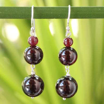 Garnet drop earrings, 'Impassioned Love' - Beaded Garnet Earrings