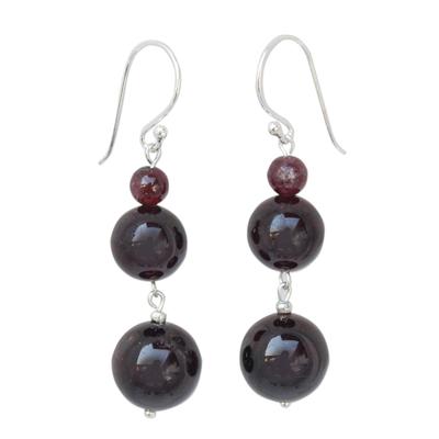 Beaded Garnet Earrings