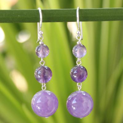 Amethyst drop earrings, 'Lilac Wisdom' - Beaded Amethyst Earrings