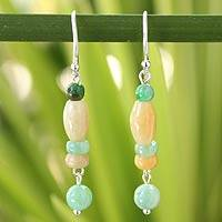 Jade dangle earrings, 'Nature's Touch' - Handmade Jade Earrings