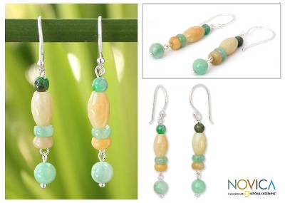 Jade dangle earrings, Natures Touch
