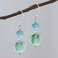 Fluorite dangle earrings, 'Blue Genie' - Unique Beaded Fluorite Earrings
