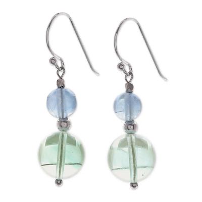 Fluorite dangle earrings, 'Blue Genie' - Unique Beaded Fluorite Earrings
