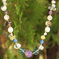 Pearl and quartz beaded necklace, 'Ethereal' - Beaded Multigem Necklace