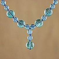 Fluorite Y necklace, 'Blue Champagne' - Fluorite Y necklace