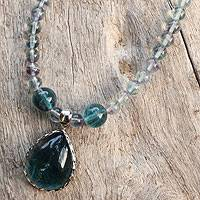 Fluorite pendant necklace, 'Blue Genie' - Unique Fluorite Pendant Necklace