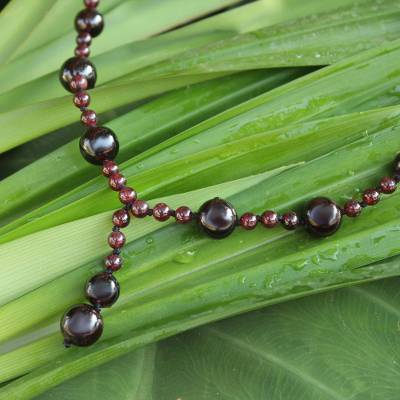 Garnet Y necklace, 'Red Champagne' - Thailand Hand Knotted Garnet Beaded Y Necklace