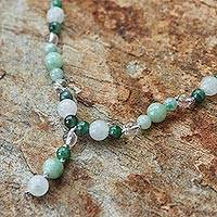 Jade and quartz Y necklace, 'Natural Beauty' - Beaded Jade and Quartz Necklace