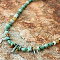 Jade beaded necklace, 'Green Beauty' - Handcrafted Thai Beaded Jade Necklace