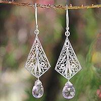 Amethyst dangle earrings, 'Twilight Glam' - Amethyst dangle earrings