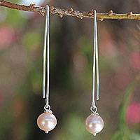 Cultured pearl dangle earrings, 'Precious Pink'
