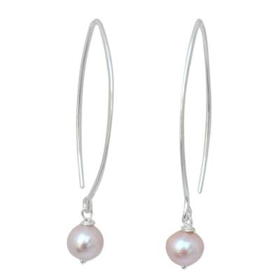 Cultured pearl dangle earrings, 'Precious Pink' - Hand Made Pearl and Sterling Silver Dangle Earrings