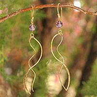 Gold vermeil amethyst dangle earrings, 'Windblown Rain' - Gold vermeil amethyst dangle earrings