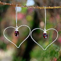 Garnet heart earrings, 'Love Surprise' - Fair Trade Garnet and Silver Heart Earrings