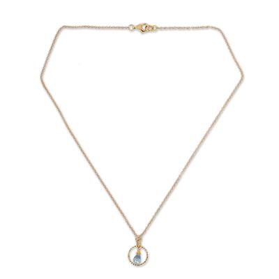 Gold vermeil blue topaz pendant necklace