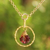 Gold vermeil garnet pendant necklace, 'Thai Delight' - Handcrafted Vermeil Garnet Pendant Necklace