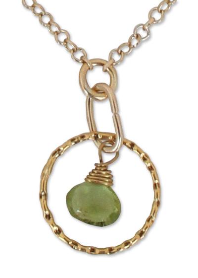 Gold vermeil peridot pendant necklace, 'Thai Delight' - Gold vermeil peridot pendant necklace