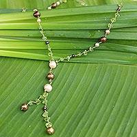Pearl and peridot pendant necklace, 'Nature's Melody' - Pearl and Peridot Y Necklace