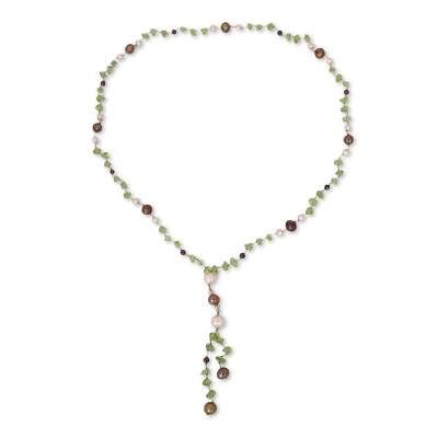 Pearl and Peridot Y Necklace