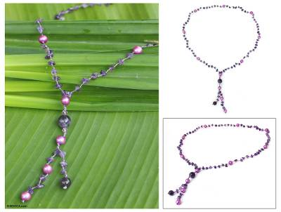 Pearl and amethyst pendant necklace, 'Nature's Melody' - Pearl and Amethyst Y Necklace