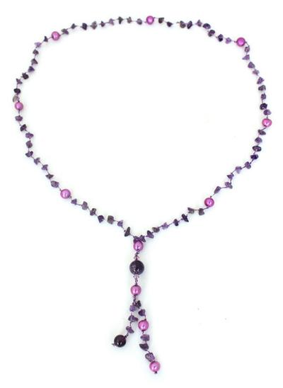 Pearl and Amethyst Y Necklace