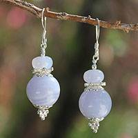 Blue lace agate dangle earrings, 'Happy Peace' - Blue Lace Agate Dangle Earrings