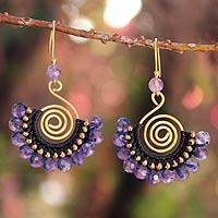 Amethyst dangle earrings, 'Lilac Kiss' - Gold-Plated Brass and Amethyst Earrings from Thailand