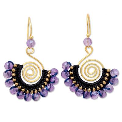 Amethyst dangle earrings, 'Lilac Kiss' - 24K Gold Plated Brass and Amethyst Dangle Earrings