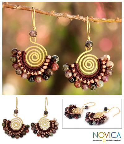 Tourmaline dangle earrings, 'Candy Kiss' - Tourmaline and Brass Bead Dangle Earrings