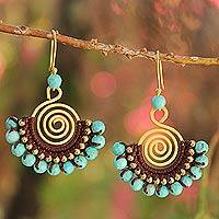 Beaded dangle earrings, 'Sky Kiss' - Brass and Turquoise Colored Bead Dangle Earrings