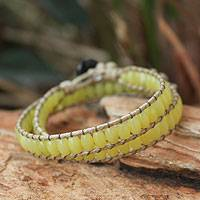 Jasper wrap bracelet, 'River of Light' - Jasper Beaded Wrap Bracelet