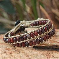 Jasper wrap bracelet, 'River of Roses' - Leather Beaded Jasper Bracelet