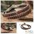 Jasper wrap bracelet, 'River of Roses' - Leather Beaded Jasper Bracelet (image 2) thumbail