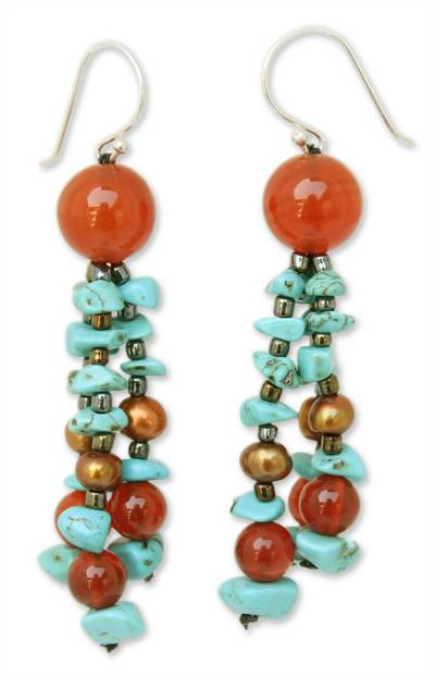 Fair Trade Pearl and Carnelian Beaded Earrings