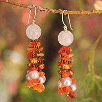 Pearl and carnelian dangle earrings, 'Promise of Fire' - Pearl and carnelian dangle earrings