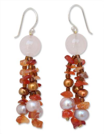 Pearl and carnelian dangle earrings