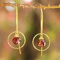 Gold vermeil garnet dangle earrings, 'Rose Dreamer' - Gold Vermeil Garnet Earrings