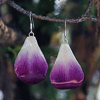 Natural orchid petal dangle earrings, 'Chiang Mai Beauty' - Handcrafted Natural Orchid Petal Dangle Earrings