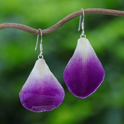 Natural orchid petal dangle earrings, 'Chiang Mai Beauty' - Natural Flower Dangle Earrings