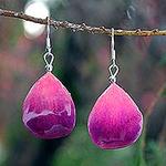 Orchid Petal Dangle Earrings, 'Chiang Mai Kiss'