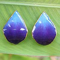 Gold-plated natural orchid petal button earrings, 'Chiang Mai Sky' - Beautiful Teardrop Shaped Handcrafted Earrings